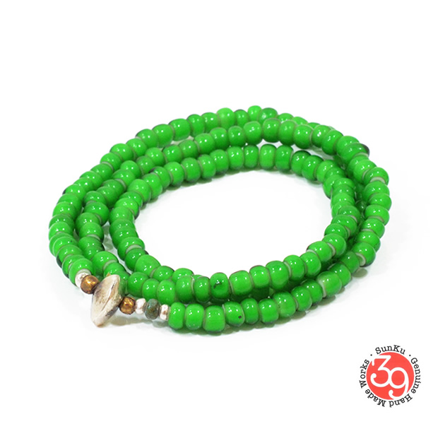 Sunku LTD-010 White Heart Beads Necklace & Bracelet Green