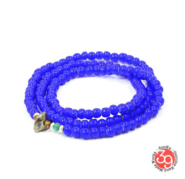 Sunku LTD-012 White Heart Beads Necklace & Bracelet Navy