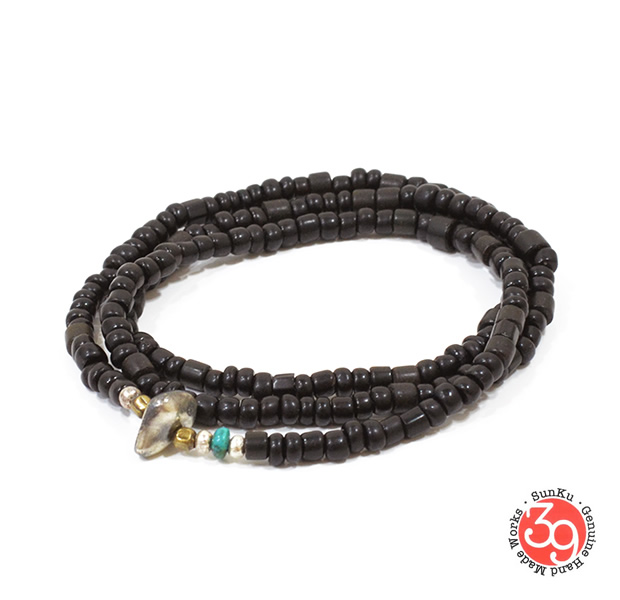 Sunku LTD-014 Antique Beads Necklace & Bracelet Black