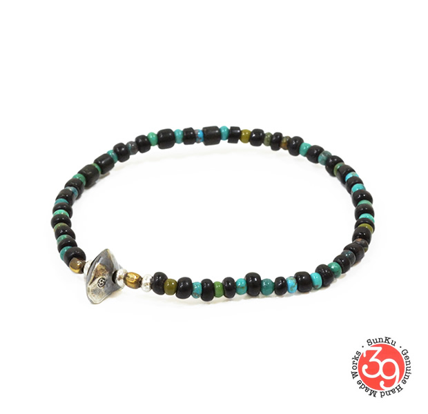 Sunku LTD-015 Antique Beads Bracelet Black x Turquoise