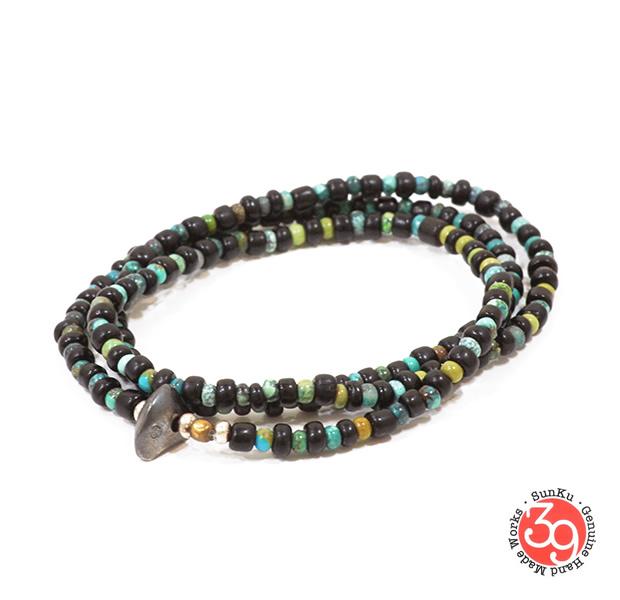 Sunku LTD-016 Antique Beads Necklace & Bracelet Black x Turquoise