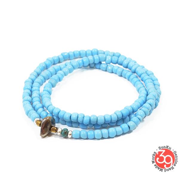 Sunku LTD-018 Antique Beads Necklace & Bracelet Sax