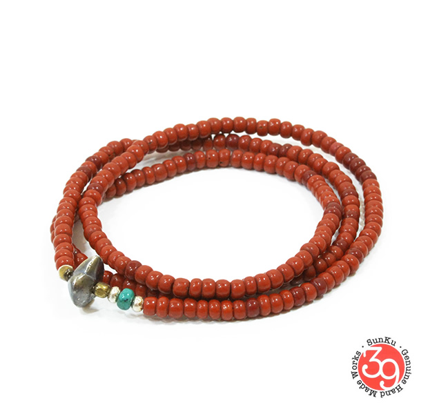 Sunku LTD-020 Antique Beads Necklace & Bracelet Brown
