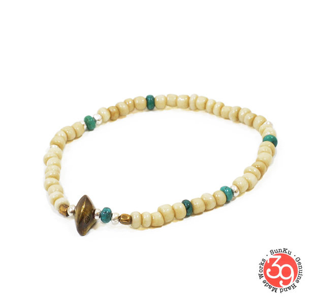 Sunku LTD-023 Antique Beads Bracelet White/Turquoise