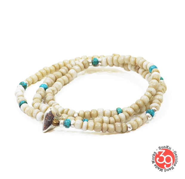 Sunku LTD-024 Antique Beads Necklace & Bracelet White/Turquoise