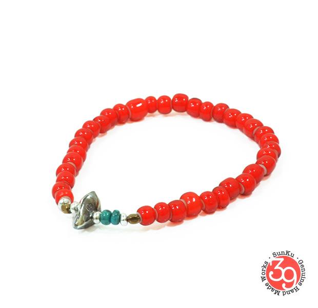 Sunku SK-001 White Heart Beads Bracelet