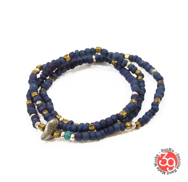 Sunku SK-014 Indigo Dye Beads Necklace & Bracelet(S Beads)