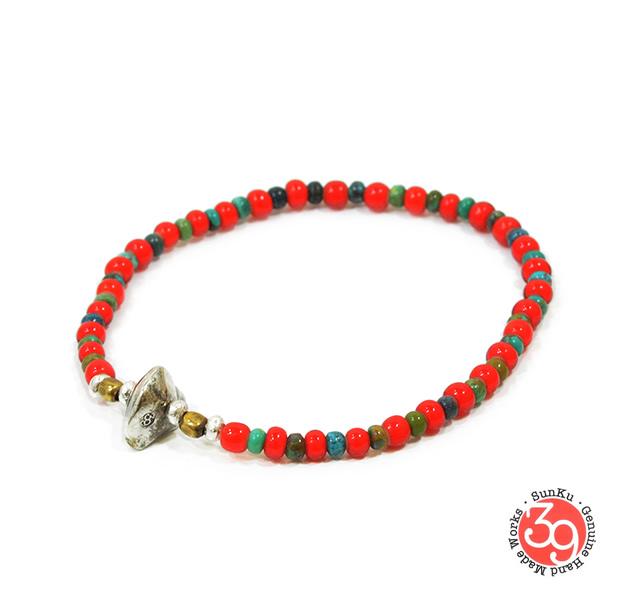 Sunku SK-028 White Heart & Turquoise Bracelet