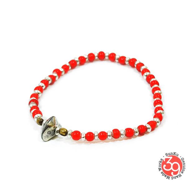 Sunku SK-037 White Heart & Silver Beads Bracelet