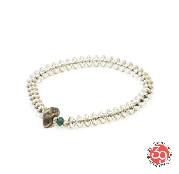 Sunku SK-041 Large Silver Beads Bracelet