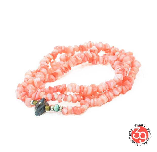 Sunku SK-052 Pink Coral Necklace & Bracelet