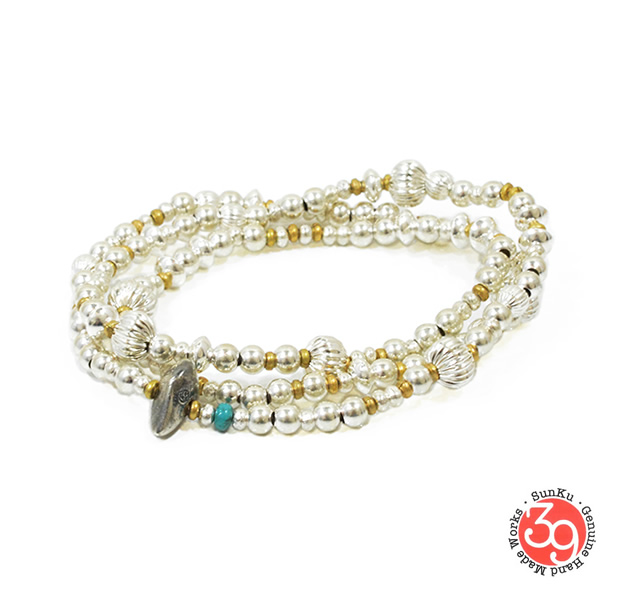 Sunku SK-054 Mix Silver Beads Necklace & Bracelet