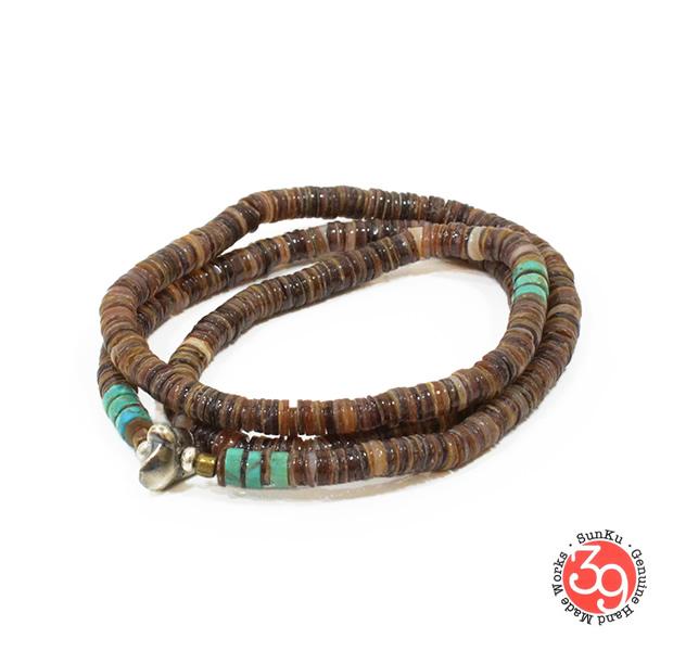 Sunku SK-056BRN Heishi Shell Necklace & Bracelet