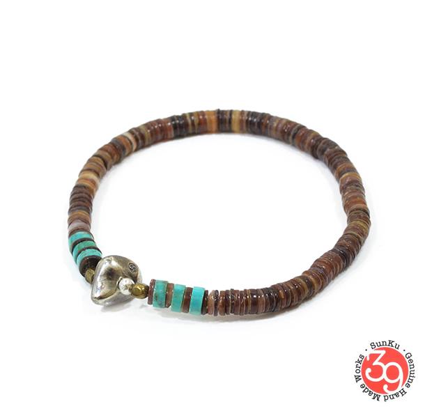 Sunku SK-055BRN Heishi Shell Bracelet