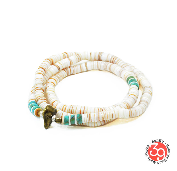 Sunku SK-056WH Heishi Shell Necklace & Bracelet