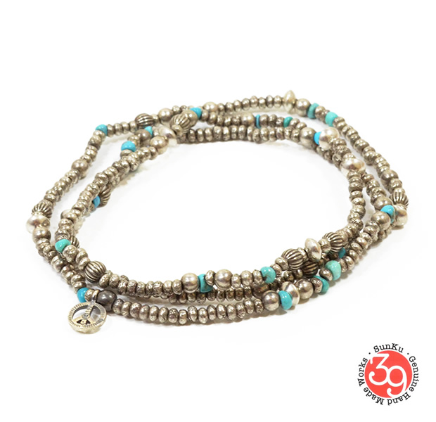 Sunku SK-084 Silver & Turquoise Beads Long Necklace W/Peace