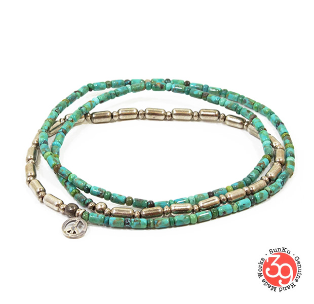 Sunku SK-085 Silver & Turquoise Beads Long Necklace W/Peace