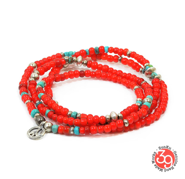 Sunku SK-086 White Heart & Turquoise Long Necklace W/Peace