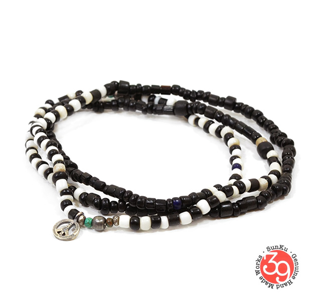 Sunku SK-087 Antique Black & White Beads Long Necklace