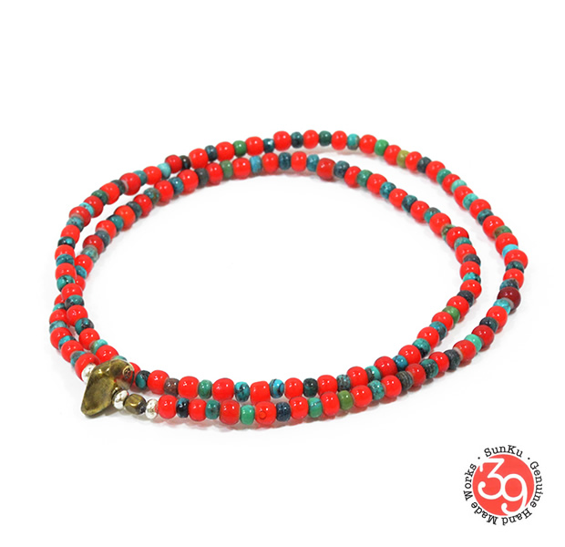 Sunku SK-076 White Heart & Turquoise Anklet & Necklace