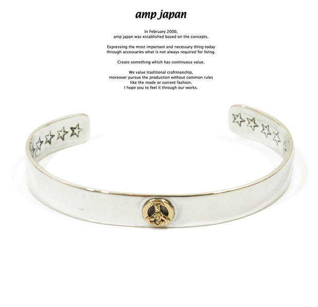 amp japan 14ao-342 flat silver bangle-K10 peace sign-