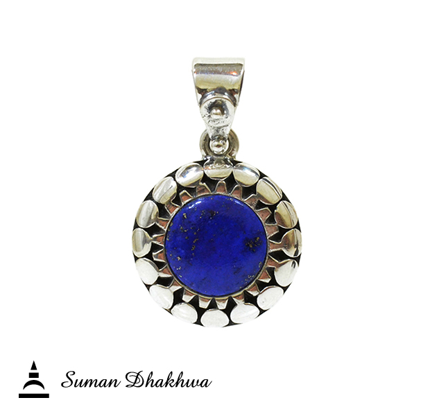 Suman Dhakhwa SD-P151 Circles Stone Pendant/Lapislazuli