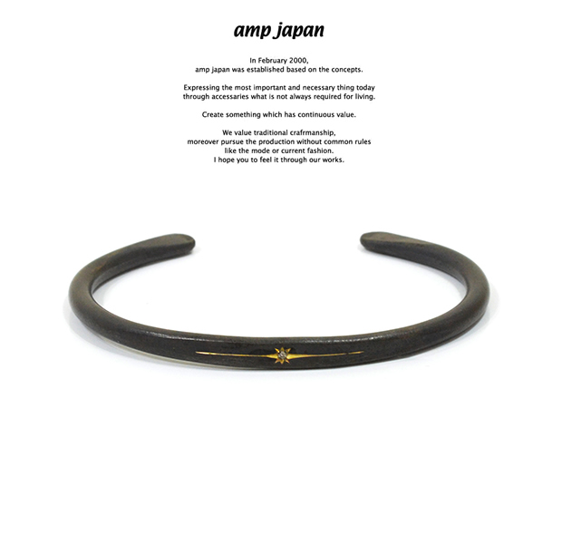 amp japan 16AO-320 Black Brass bangle With Diamond