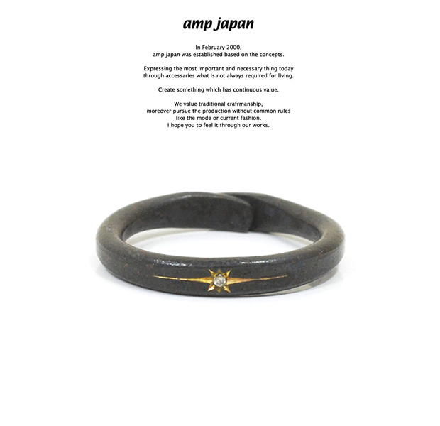 amp japan 16AO-210 Black Brass Ring With Diamond