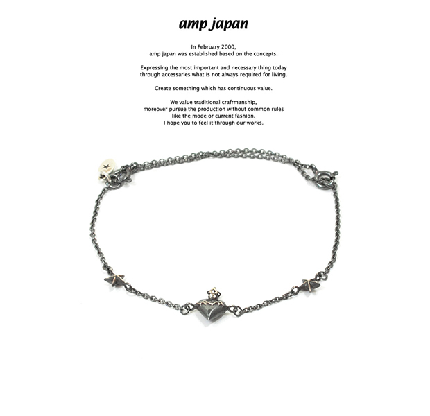 amp japan 16AC-412 Narrow Black Chain Bracelet & Anklet -Coeur Sacré-