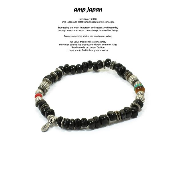 amp japan 16AHK-452 Tumble Stone Bracelet -Black Agate-