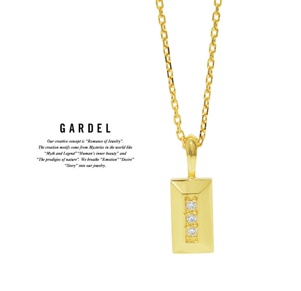 GARDEL GDP-144 K18YG Block Stone Necklace