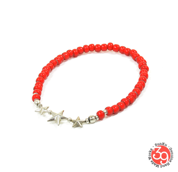 Sunku SK-144 RED Star Beads Anklet