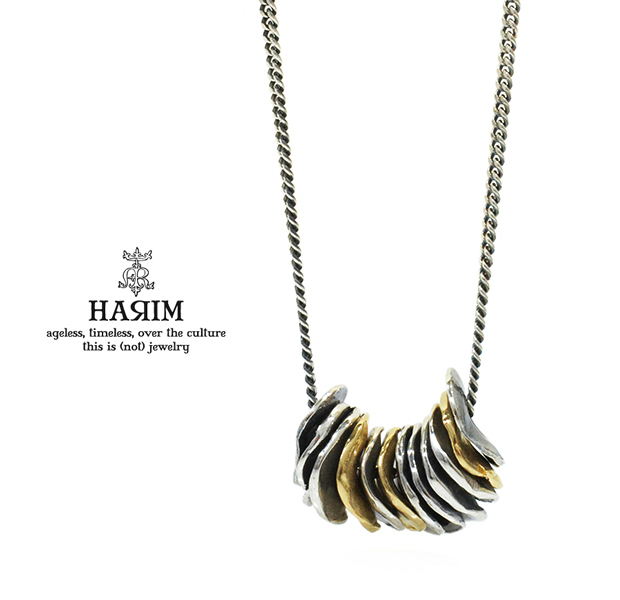 HARIM HRP116SVBR Distorted Disk Chain Necklace COMBI