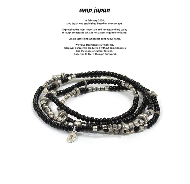 amp japan 16AHK-475BK White Hearts - Jet Black - Brace & Necklace