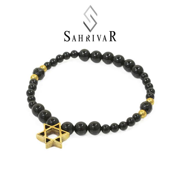 SAHRIVAR SB63B17S Brass Hexagram  Bracelet/Onyx