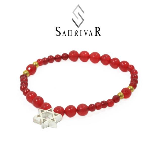 SAHRIVAR SB64S17S Silver Hexagram Bracelet/Red Agate