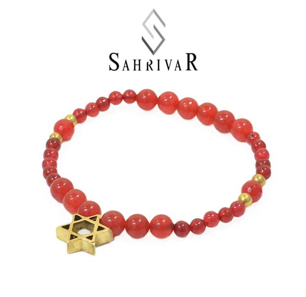 SAHRIVAR SB65B17S Brass Hexagram Bracelet/Red Agate