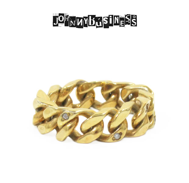 JOHNNY BUSINESS JR08M17S Gold Chain Ring with DIA