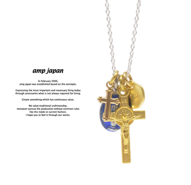 amp japan 16AHK-176 Medaille Miraculeuse Mix Necklace -Blue Epoxy-