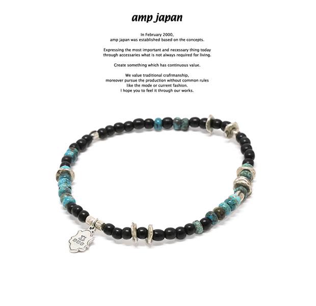 amp japan 17AHK-412 Round Black Horn Bracelet -Turquoise-