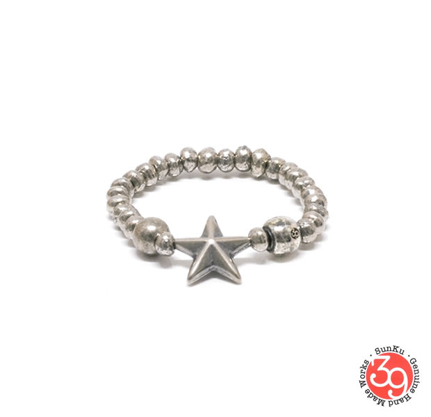 Sunku SK-225/SLV STAR BEADS RING