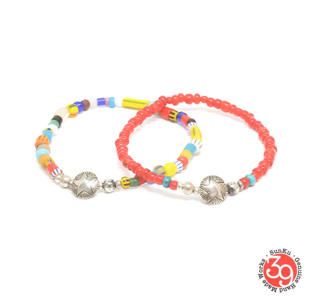 Sunku SK-207-RED/MIX  STAR CONCHA BEADS BRACELET