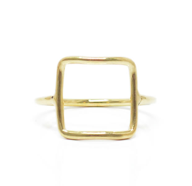 "UNKNOWN. U519 "" THIN SQUARE "" RING / BRASS"