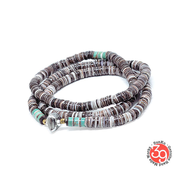 Sunku SK-056-PPL Heishi Shell Necklace & Bracelet