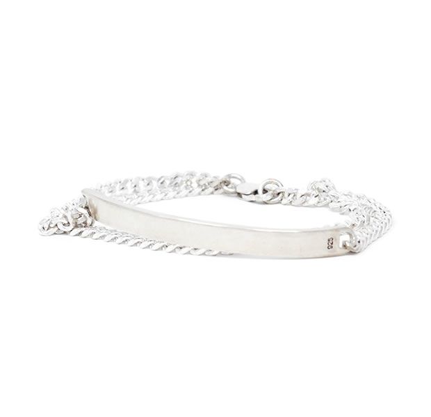 20/80 AB027 STERLING SILVER DOUBLE ID BRACELET