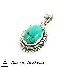 "Suman Dhakhwa SD-P137TRQ "" Valhalla Collection "" Twisted Turquois Pendant"