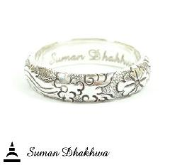 "Suman Dhakhwa SD-R117 "" Valhalla Collection "" Wide Round Flower Carving Ring"