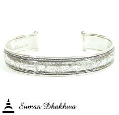 "Suman Dhakhwa SD-B57 "" Valhalla Collection "" Flower Carving Cuff"
