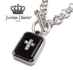 Justin Davis snj115 ONYX SQUARE STONE NECKLACE 50cm