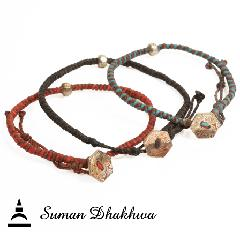 Suman Dhakhwa SD-B54 Octagon Code Bracelet w/Bead Single